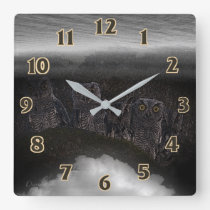 Night Owl Friends Square Wall Clock