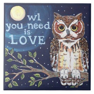 "Halloween Themed Night ""Owl Love"" Cute Humorous Owl Designer Tile"
