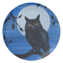 Night Owl Melamine Plate