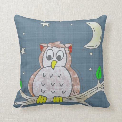 Night Owl On Branch Pillows