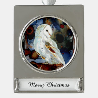 Night Owl Silver Plated Banner Ornament