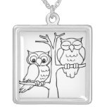 night owl silver plated necklace
