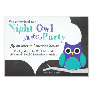 Night Owl Slumber Party 5x7 Paper Invitation Card