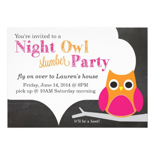 Night Owl Slumber Party Personalized Announcements