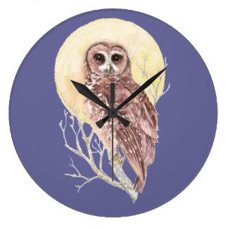 Night Owl  with Moon Bird, Nature Design Large Clock