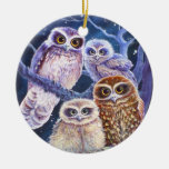Night Owls Double-Sided Ceramic Round Christmas Ornament