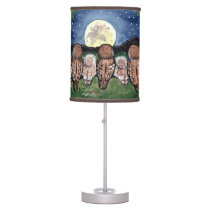 """Night Owls"" Owl Family Watching the Moon Lamp"