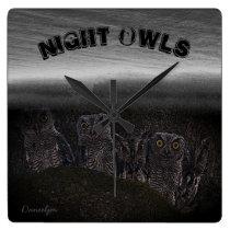 Night Owls Square Wall Clock