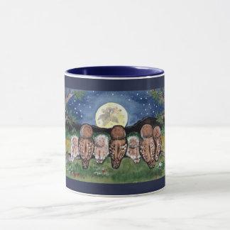 Night Owls Watching the Moon Starry Designer Mug