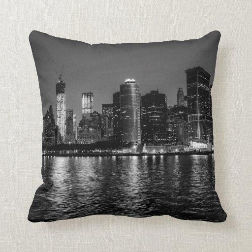 Night Photo of the New York City Skyline Landscape Throw Pillow