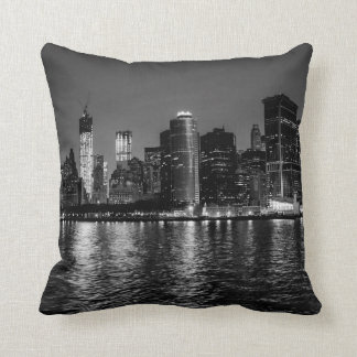 Night Photo of the New York City Skyline Landscape Throw Pillow