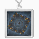 Night Prowler Fractal Art Silver Plated Necklace