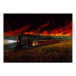 Night Ride on Prairie Train Railroad Travel Card