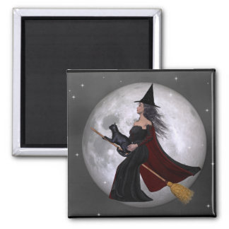 Night Ride :: Witch & Her Cat Riding in the Night 2 Inch Square Magnet