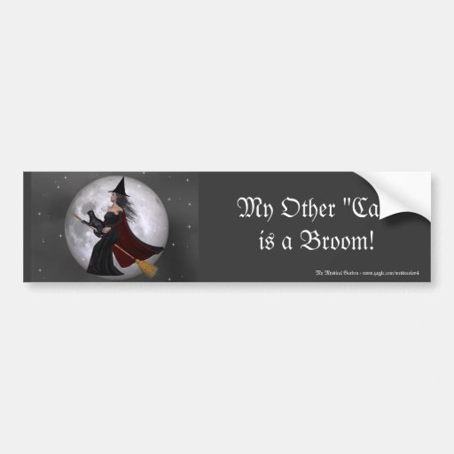Night Ride :: Witch & Her Cat Riding in the Night Bumper Sticker