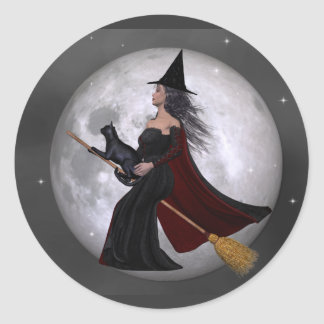 Night Ride :: Witch & Her Cat Riding in the Night Classic Round Sticker