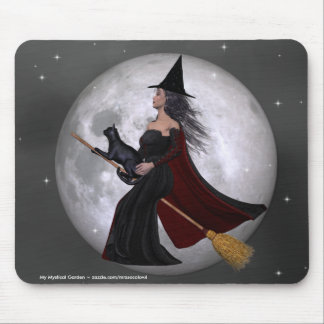 Night Ride :: Witch & Her Cat Riding in the Night Mouse Pads