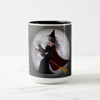 Night Ride :: Witch & Her Cat Riding in the Night Coffee Mugs
