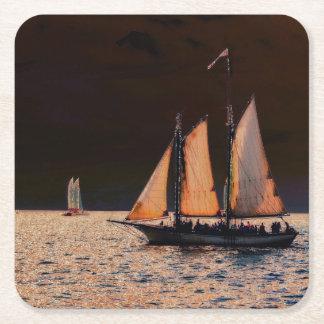 Night Sail - Key West, Florida Square Paper Coaster