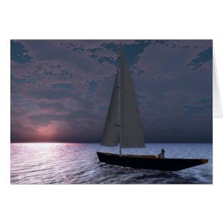 Night Sailing Greeting Cards