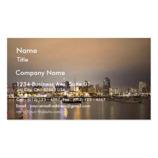 Night San Diego Sailboats Skyline Double-Sided Standard Business Cards (Pack Of 100)