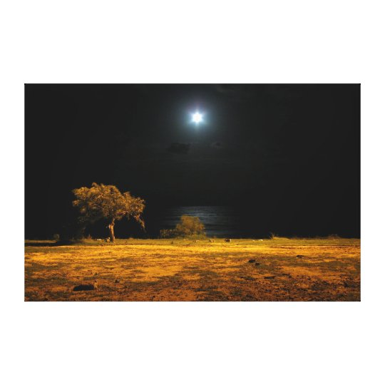 Night scene by the riverside canvas print