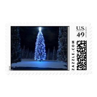 Night Scene Christmas Tree Stamp