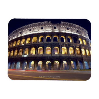 Night shot of Colosseum Rectangle Magnets