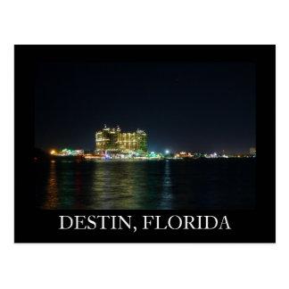 Night Shot of Destin, Florida Harbor Postcard