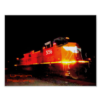 Night Shot Union Pacific Train Engine Poster