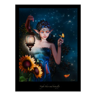 Night skies and Butterflys Poster