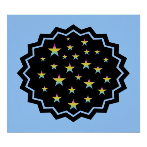 Night sky and pastel stars print