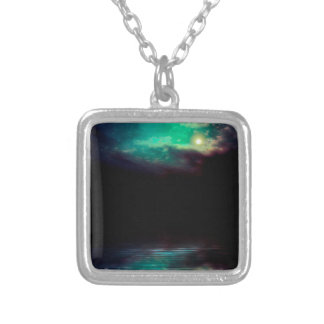 Night Sky and River 2 Silver Plated Necklace