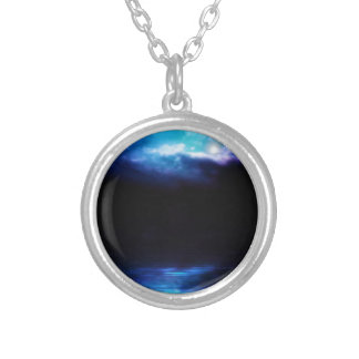 Night Sky and River Silver Plated Necklace