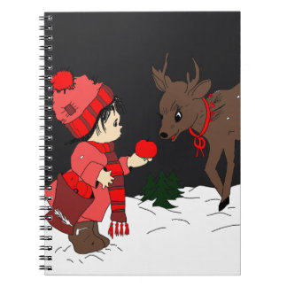 night sky child and reindeer reds and pink notebook