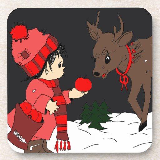 Night sky child feeding reindeer coasters