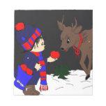 Night sky child feeding reindeer II Note Pad