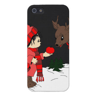 Night sky child feeding reindeer in red case for iPhone SE/5/5s