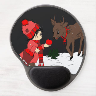 Night sky child feeding reindeer in red gel mouse mats