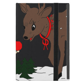 Night sky child feeding reindeer in red iPad mini cover