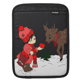 Night sky child feeding reindeer in red iPad sleeve