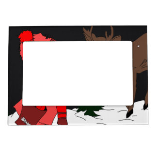 Night sky child feeding reindeer in red magnetic picture frame
