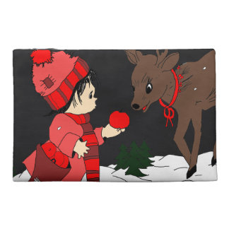 Night sky child feeding reindeer in red travel accessory bag
