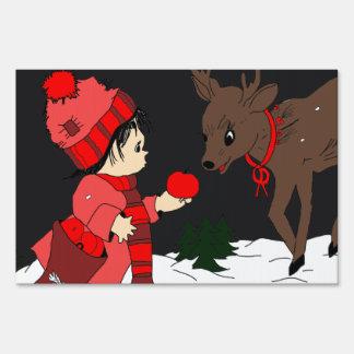 Night sky child feeding reindeer in red yard sign
