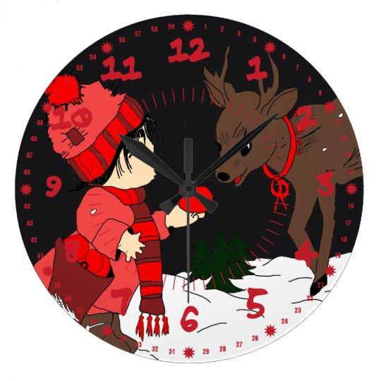 Night sky child feeding reindeer large clock