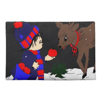 Night Sky Child Feeding Reindeer Travel Accessory Bag
