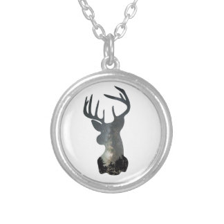 Night sky deer silhouette silver plated necklace