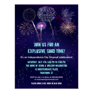 Night Sky Fireworks 4th of July Event Poster