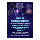 Night Sky Fireworks 4th of July Party 4.5x6.25 Paper Invitation Card
