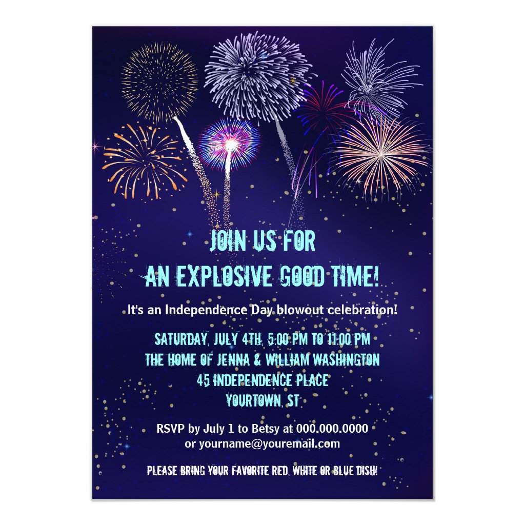 Night Sky Fireworks 4th of July Party Card